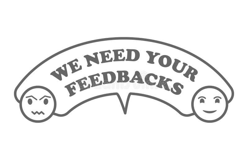 Vi önskar din återkoppling Emblem stämpel med olyckliga och lyckliga framsidasymboler i grå färger Plan vektorillustration på vit stock illustrationer
