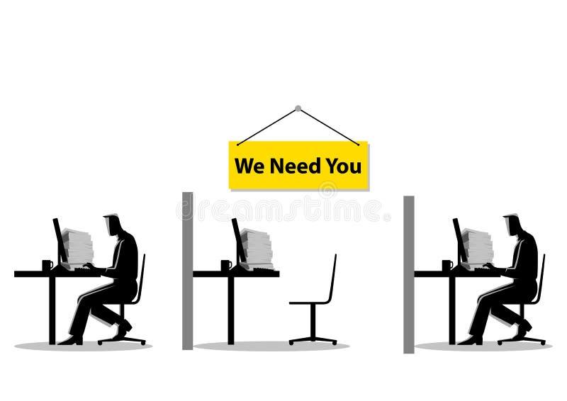 Vi abbiamo bisogno, posto vacante, nuova assunzione, apprendista, occupazione, tema di ricerca di lavoro royalty illustrazione gratis