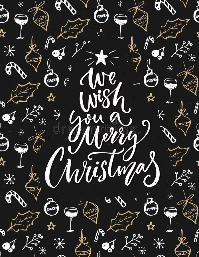 Vi auguriamo il Buon Natale Cartolina d'auguri con dire dell'iscrizione della mano e le decorazioni schizzate illustrazione vettoriale