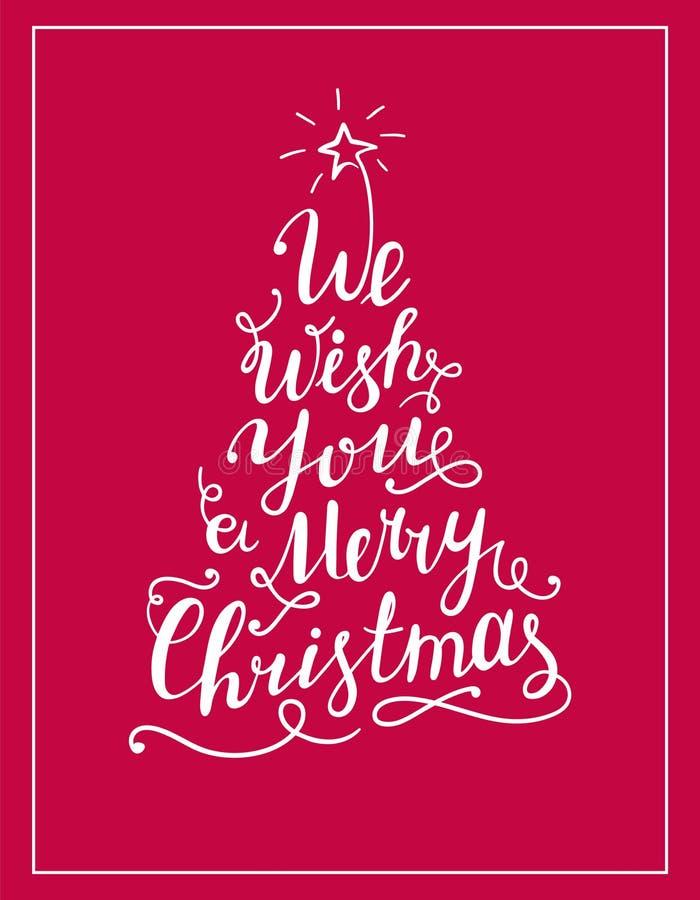 Vi auguriamo il Buon Natale che segniamo il testo con lettere sotto forma dell'albero di Natale royalty illustrazione gratis