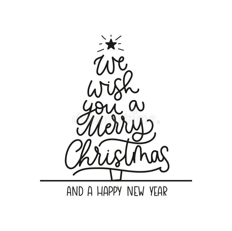 Vi auguriamo il Buon Natale e una cartolina d'auguri del buon anno con iscrizione e l'albero di Natale Natale e nuovo anno d'avan illustrazione di stock