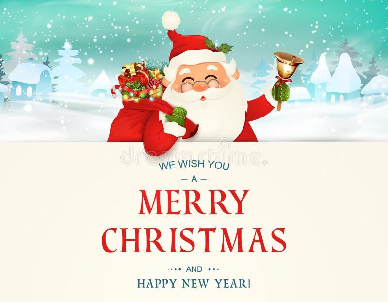 Vi auguriamo il Buon Natale Nuovo anno felice Carattere di Santa Claus con la grande insegna Il Babbo Natale allegro con la campa illustrazione di stock