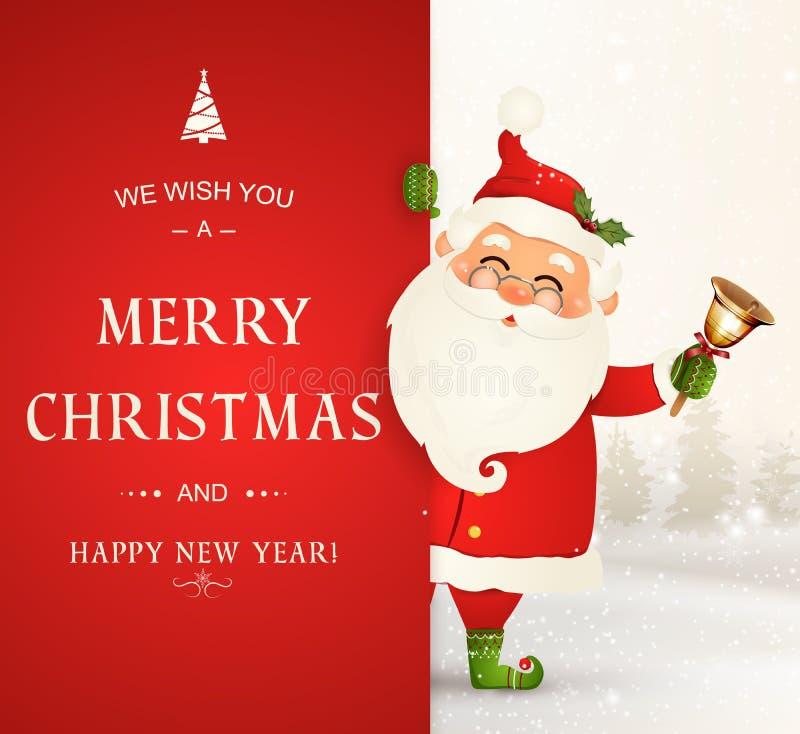 Vi auguriamo il Buon Natale Nuovo anno felice Carattere di Santa Claus con la grande insegna Il Babbo Natale allegro con tintinni illustrazione vettoriale