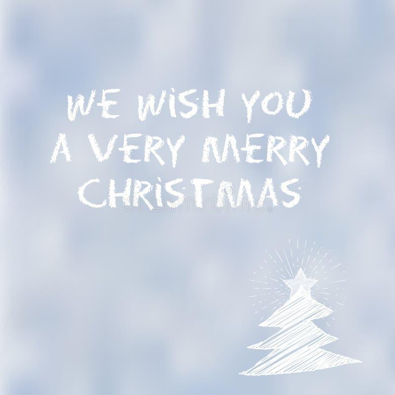Vi auguriamo molto un messaggio di tipografia di Buon Natale su un fondo della neve royalty illustrazione gratis