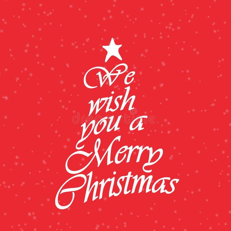 Vi auguriamo un testo di Buon Natale Testo di calligrafia per le cartoline d'auguri su fondo rosso con neve illustrazione di stock