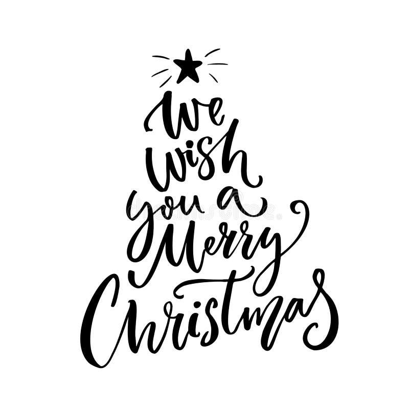 Vi auguriamo una tipografia di Buon Natale Testo della cartolina d'auguri illustrazione di stock