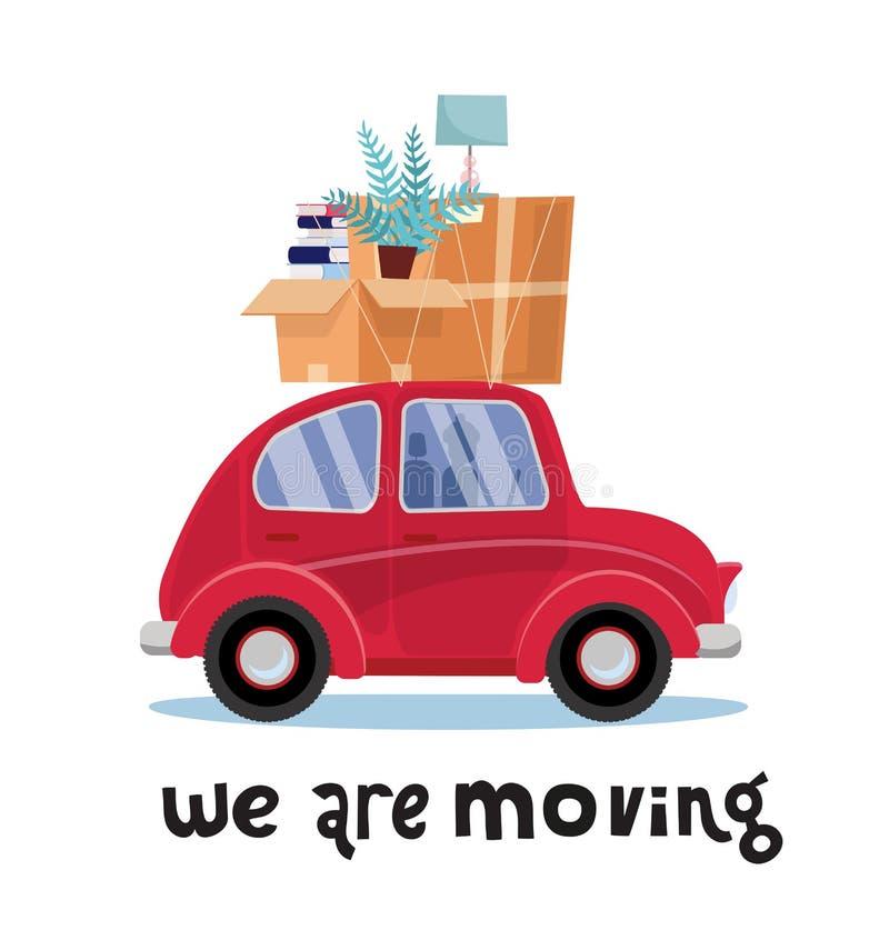 Vi flyttar oss märka begrepp Liten röd bil med askar på taket med möblemang, lampa, böcker, växt home flytta sig H?g av royaltyfri illustrationer