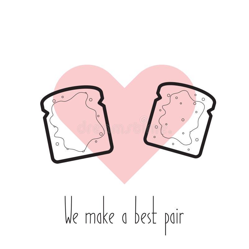 Vi gör ett bästa par Vektorrostade bröd i hjärta vektor illustrationer