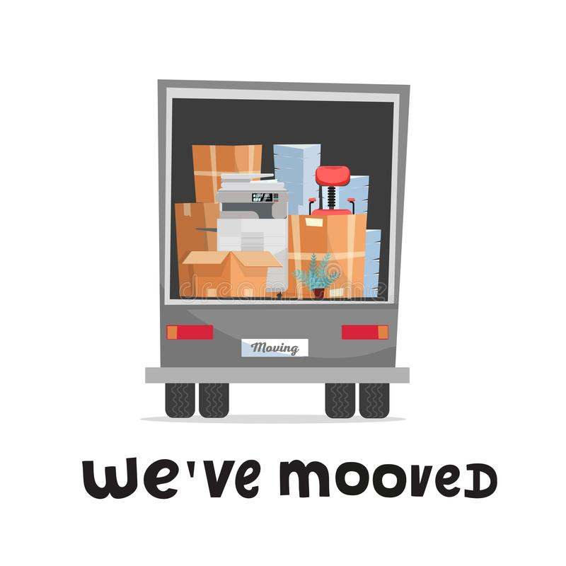 Vi har flyttat handbokstäverbegrepp Kontorsmöblemang och utrustning i baksidan av en lastbil Tillbaka sikt av lastbilen i vit bak royaltyfri illustrationer