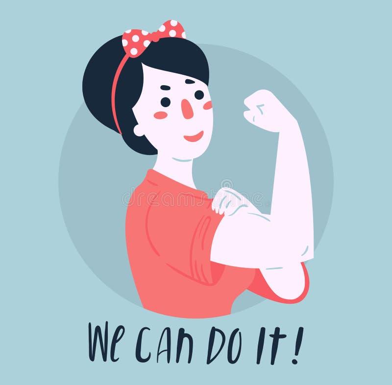 Vi kan göra det affischen Kvinnarätter, bemyndigande vektor illustrationer