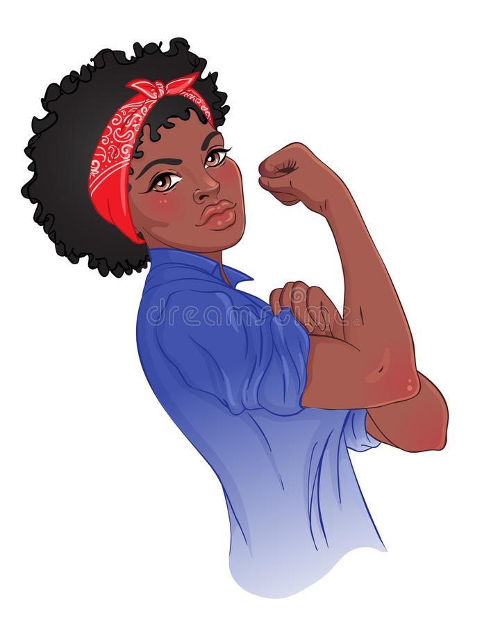 Vi kan göra det! Design som inspireras av den klassiska feministiska affischen Kvinna royaltyfri illustrationer