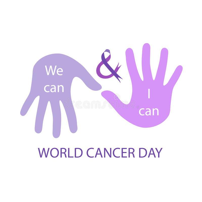 Vi kan och mig på burk meddelandet för att bemyndiga canceröverlevande på konto av världscancerdagen Februari 4th stock illustrationer