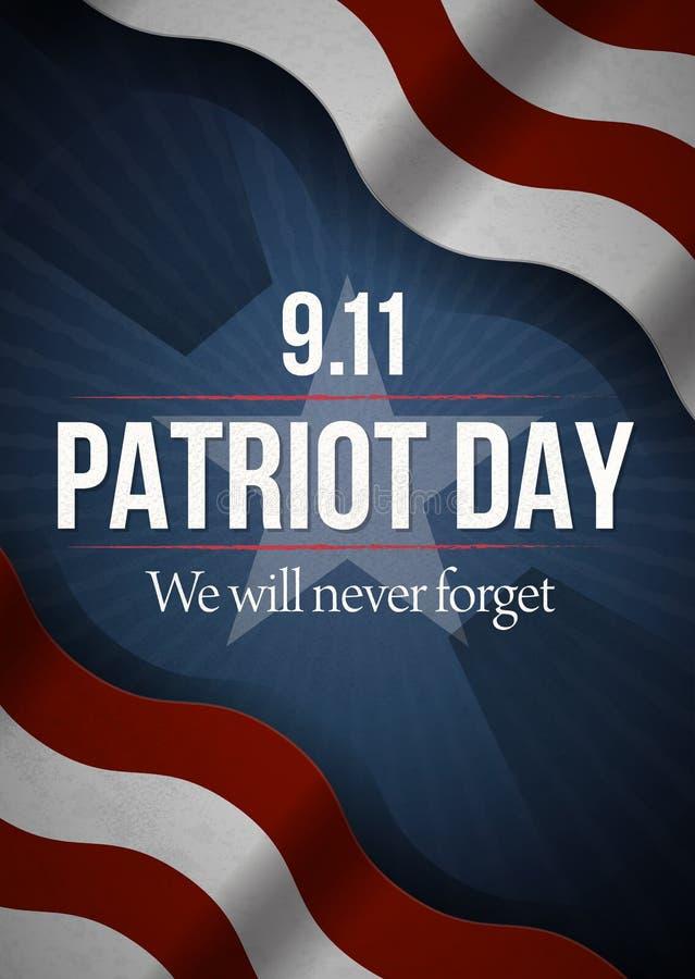 Vi ska glömma aldrig 9 dagbakgrund för 11 patriot, amerikanska flaggan gör randig bakgrund Patriotdag September 11, 2001 royaltyfri illustrationer