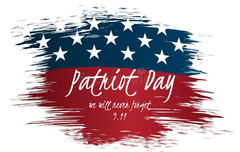 Vi ska glömma aldrig design för etikett för patriotdagtappning 9/11 patriotdagbakgrund, stock illustrationer
