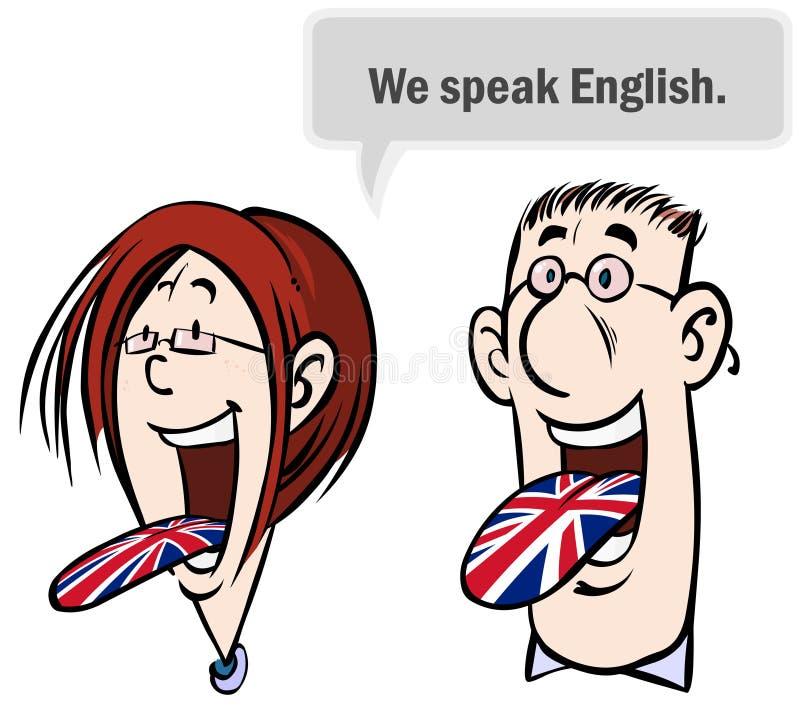 Vi talar engelska. stock illustrationer