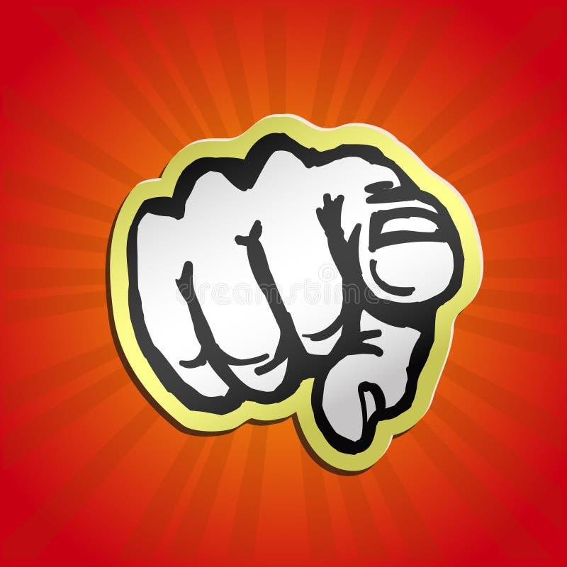 Vi voglio! indicare la retro illustrazione di vettore del dito royalty illustrazione gratis