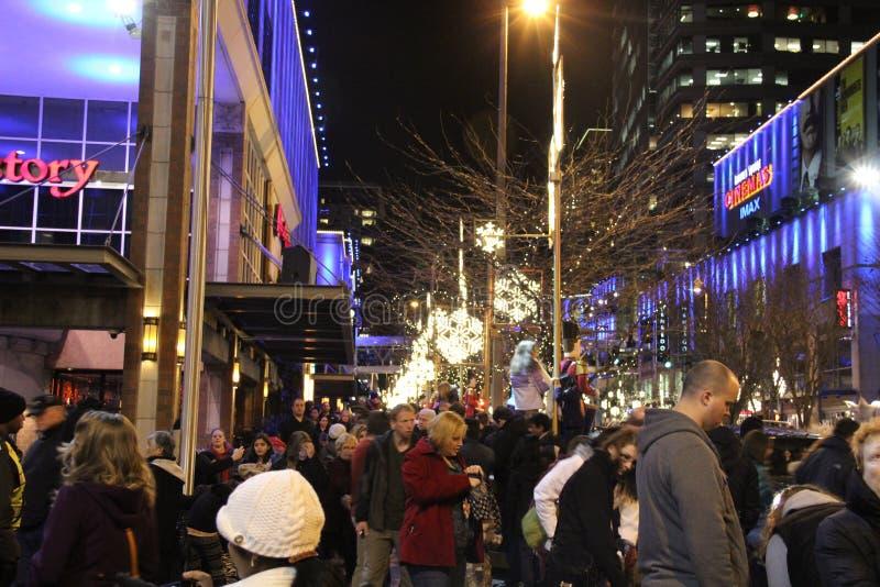 Via alla notte, Seattle WA della città immagini stock libere da diritti