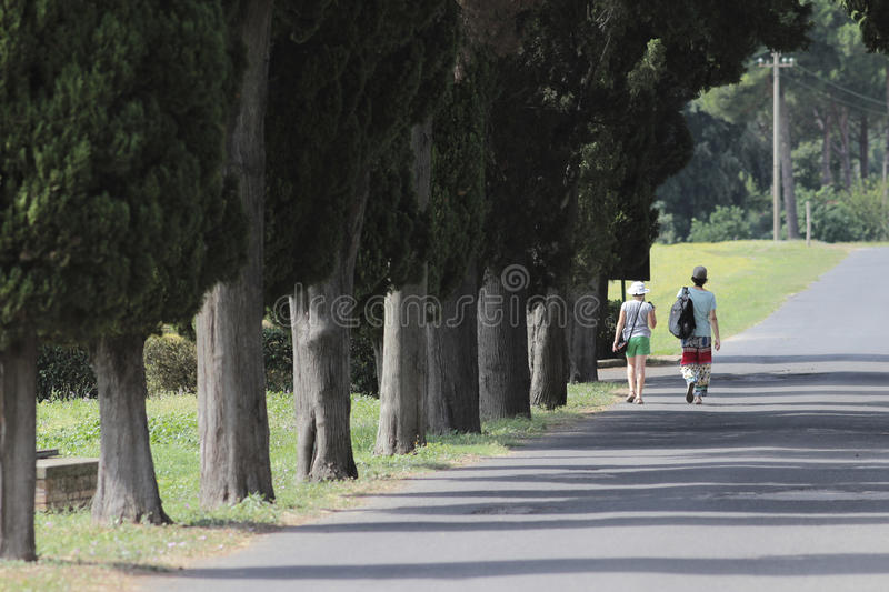 Via Appia Antica. The Appian Way (Latin and Italian: Via Appia) was one of the earliest and strategically most important Roman roads of the ancient republic. It stock photography