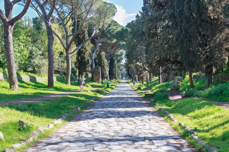 Via Appia Antica Rome. View down the ancient Via Appia Antica in Rome, Italy stock photography