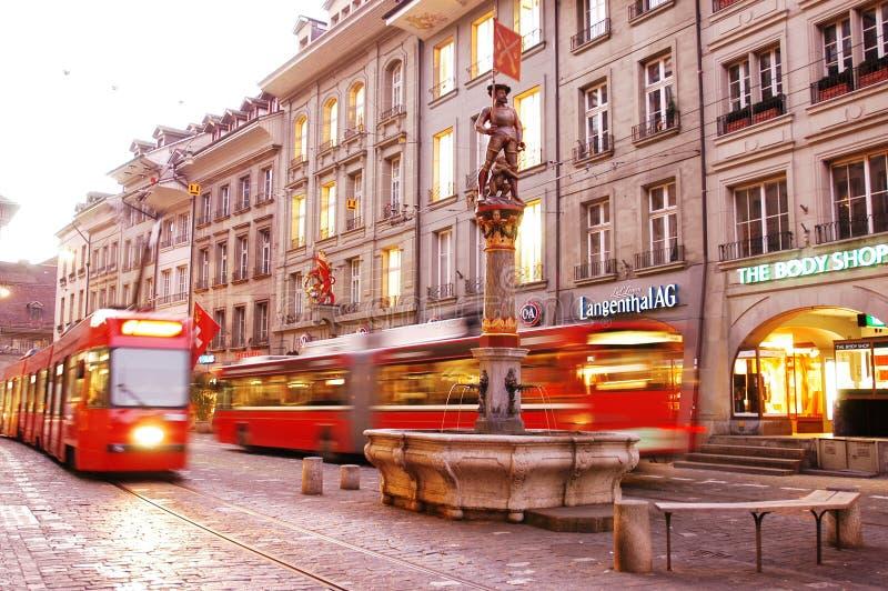 Via a Berna capitale svizzera fotografia stock libera da diritti