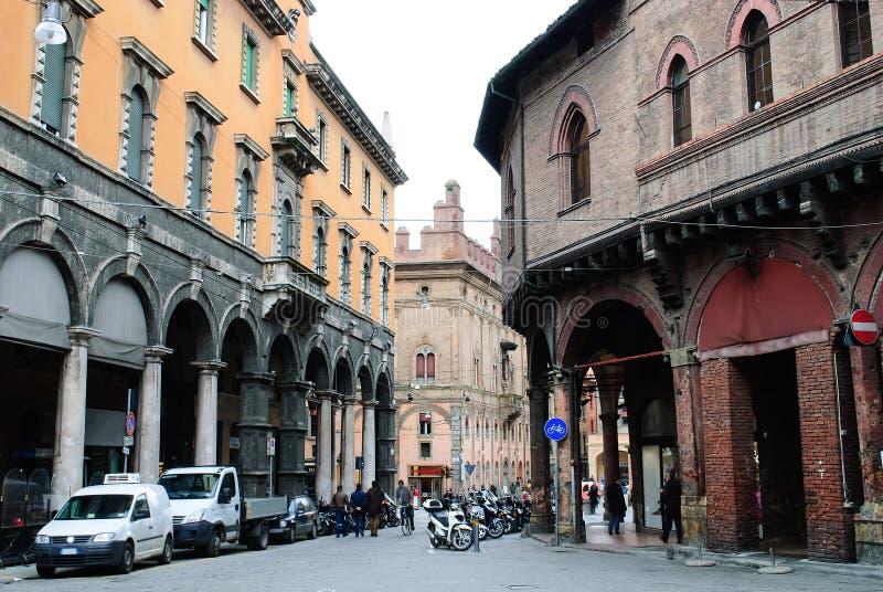 Via Castiglione-mening van Piazza della Mercanzia stock afbeelding