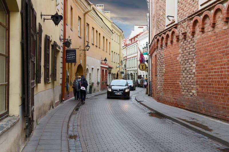 Via in Città Vecchia, Vilnius, Lituania di Stikliu immagini stock libere da diritti
