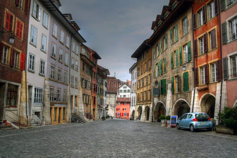 Via Cobbled a Biel (Bienne), Svizzera fotografie stock