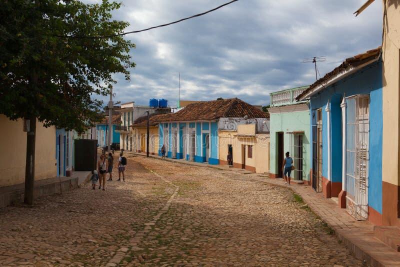 Via coloniale tipica in Trinidad cuba fotografia stock