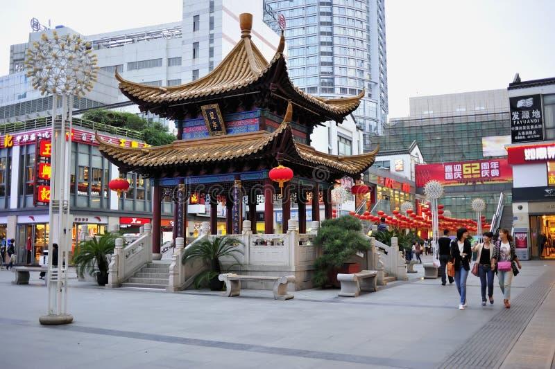 Via commerciale del tempiale di Wuxi Chongan fotografia stock libera da diritti