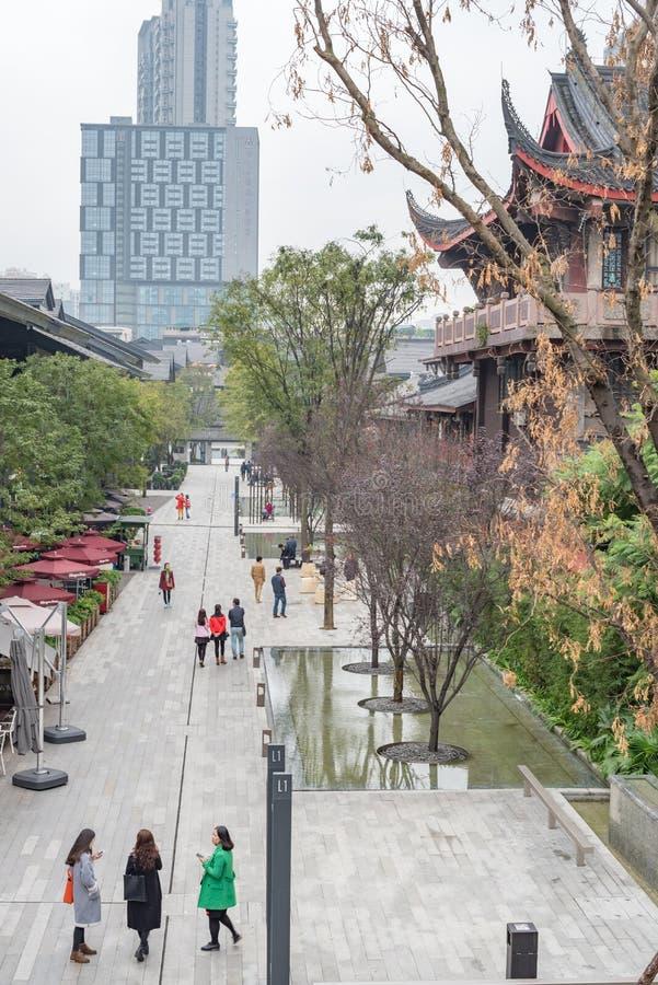 Via commerciale di Chengdu Taikooli in Cina fotografie stock