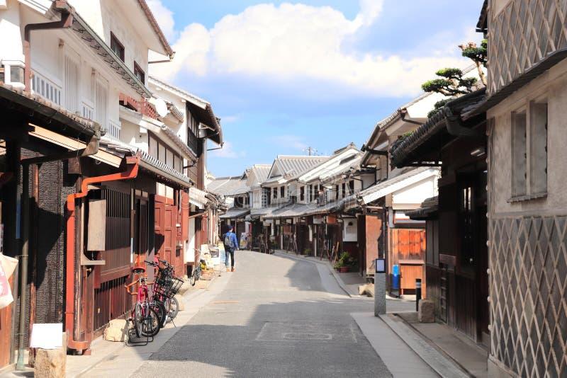 Via con le case giapponesi tradizionali, distretto di Bikan, Kurashiki, Giappone fotografia stock