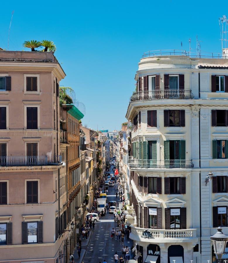 Via Condotti, Roma Questa via è il centro di acquisto di modo fotografie stock libere da diritti