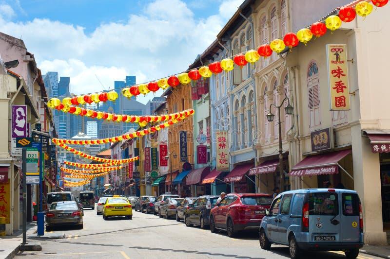 Via decorata di Chinatown a Singapore fotografia stock