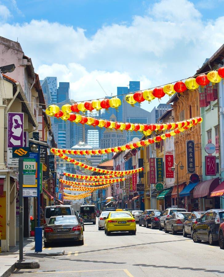 Via decorata di Chinatown a Singapore fotografia stock libera da diritti