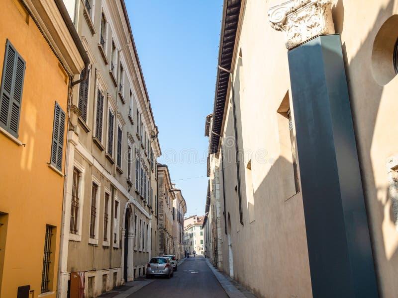 Via dei Musei near medieval Monastery Santa Giulia stock images