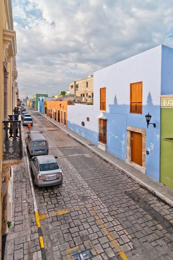Via del centro in Campeche, Messico immagini stock libere da diritti