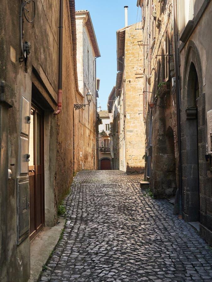 Via del ciottolo in Orvieto, Italia immagine stock