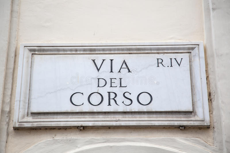 Via del Corso. One of the most famous streets in Rome, Italy stock photos