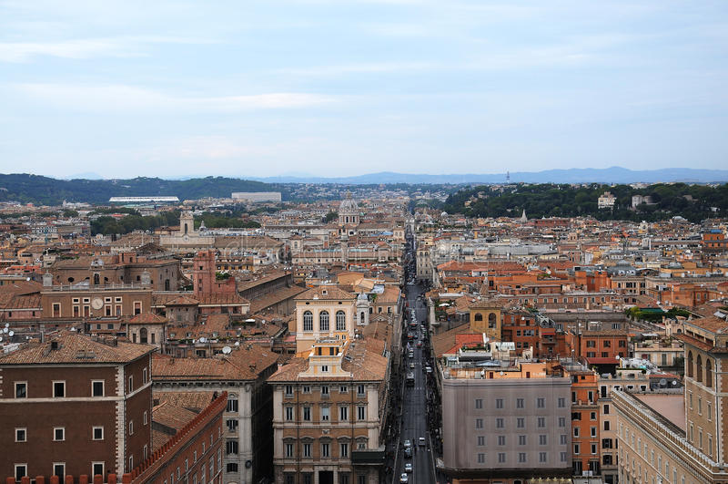 Via del Corso. View from top of the Monumento Nazionale a Vittorio Emanuele at Via del Corso in Rome, Italy stock photos
