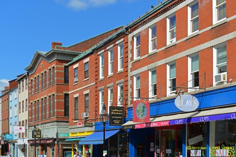 Via del mercato, Portsmouth, New Hampshire, U.S.A. immagini stock libere da diritti