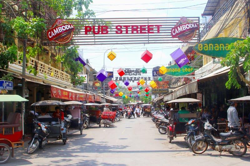 Via del partito del pub, Siem Reap, Cambogia fotografia stock libera da diritti