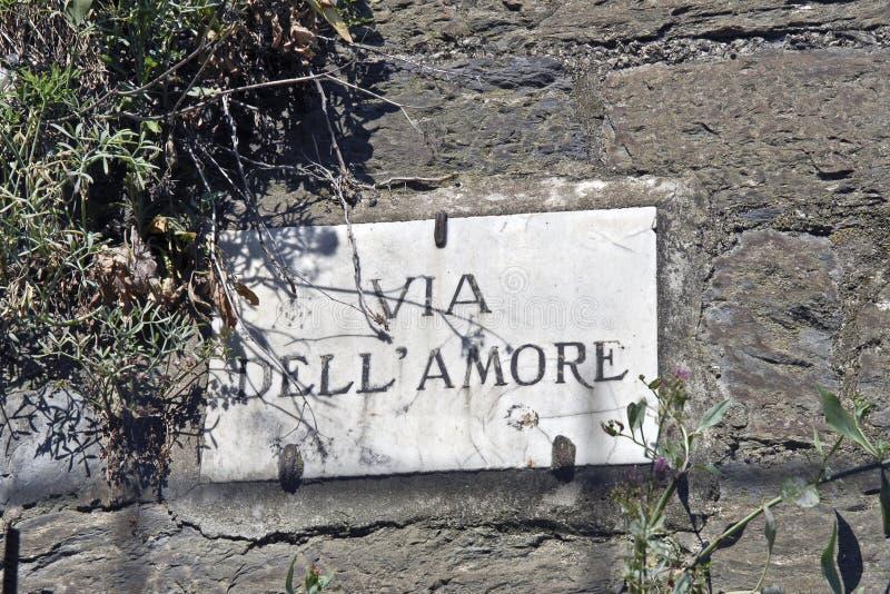 Via dell'Amore plaque stock photos
