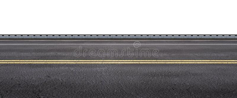 Via dell'asfalto su fondo bianco illustrazione di stock