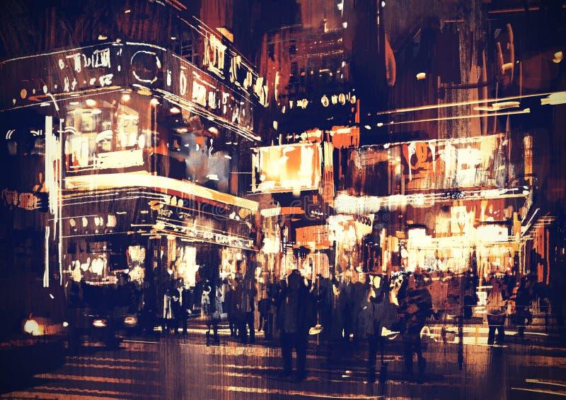Via della città alla notte con le luci variopinte royalty illustrazione gratis
