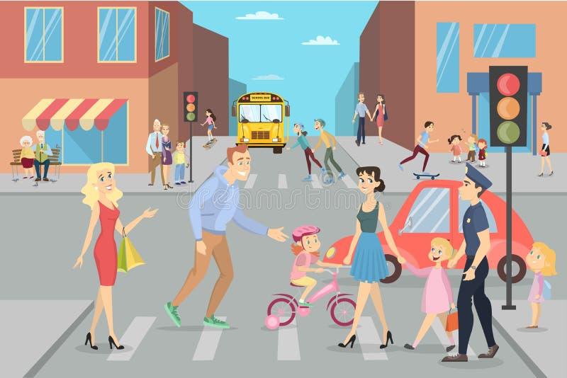 Via della città con la gente illustrazione vettoriale