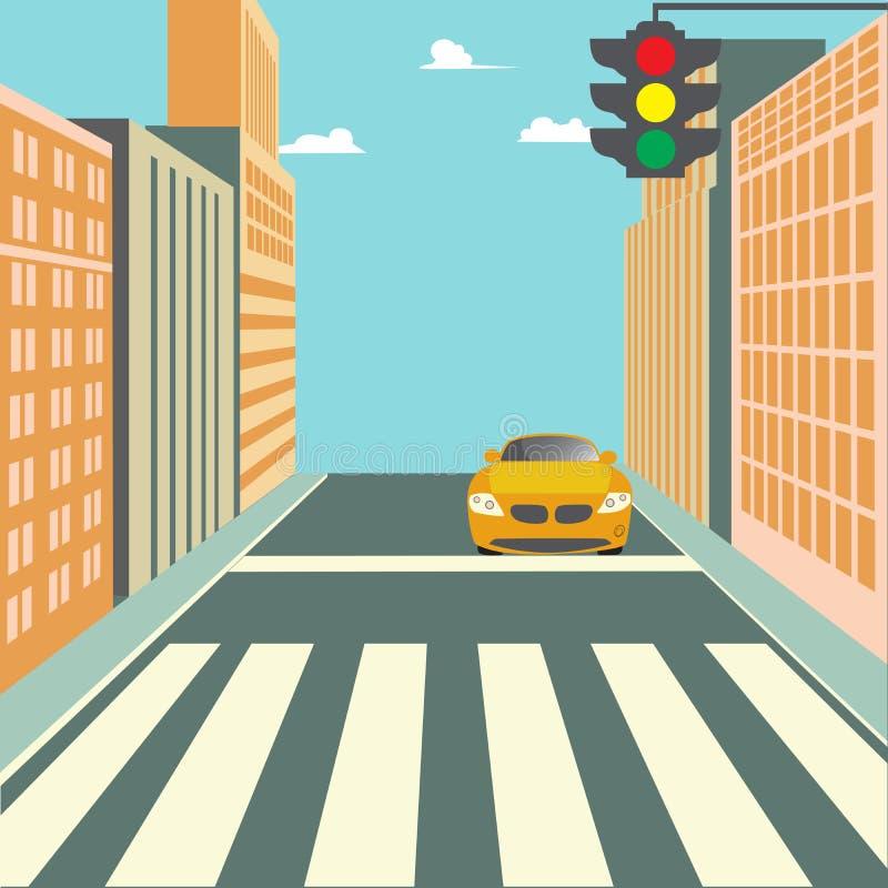 Via della città con le costruzioni, il semaforo, l'attraversamento e l'automobile illustrazione vettoriale