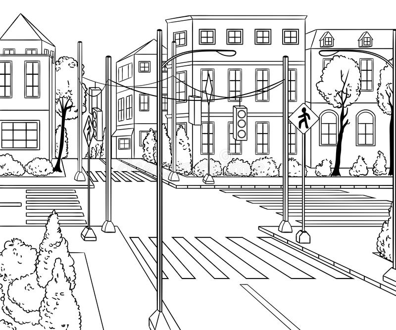 Via della città con le costruzioni, il semaforo, l'attraversamento ed il segnale stradale illustrazione vettoriale