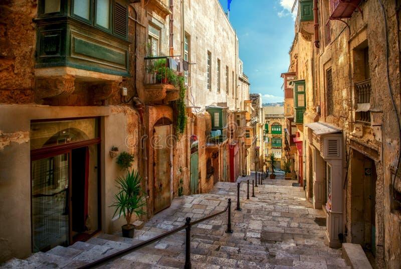 Via della città di La Valletta fotografia stock libera da diritti