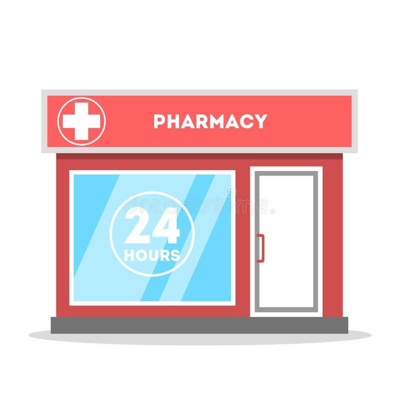Via della città della farmacia che sviluppa vista frontale esteriore illustrazione di stock