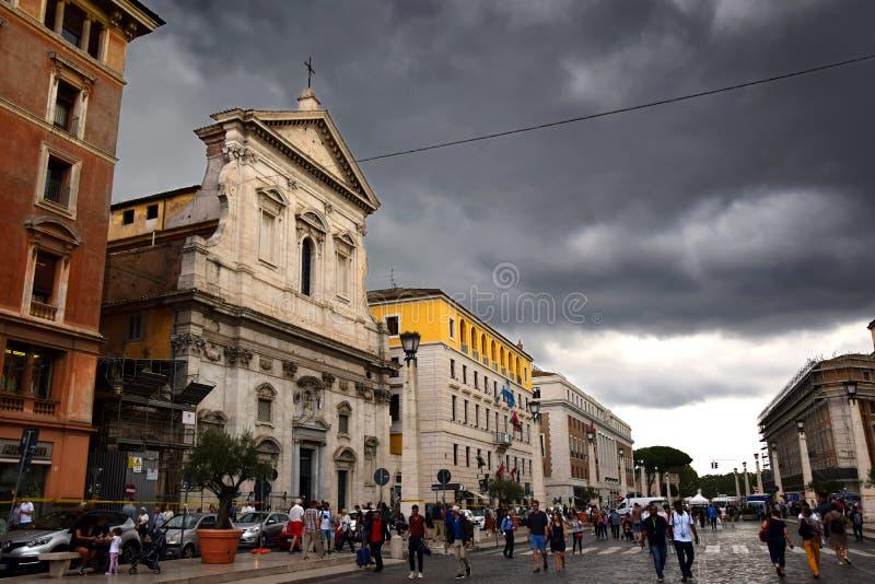 Via della Conciliazione and Chiesa di Santa Maria in Transpontina in Rome, Italy. Via della Conciliazione and Chiesa di Santa Maria in Transpontina in the city stock image